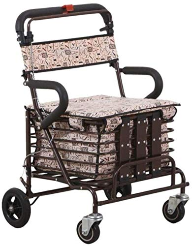 ZHJING Gehgestell Leichte Walker Rahmen mit Sitz und Warenkorb Aluminium Faltbare Rollator Trolley mit doppeltem Brems
