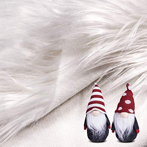Alfombra de Piel Sintética Tela de Piel Peluda Cuadrada Artesanía de Corte, Vestuario, Tapete Decorativo de Piso de Cámara Alfombra de Juego de Niños (Blanco, 40 x 40 Pulgadas)