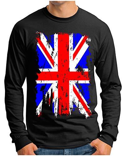 OM3 - Union-Jack-Vintage - Langarm T-Shirt | Herren | England Great Britain Vintage Flag | Schwarz, XXL