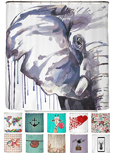 arteneur® - Blauer Elefant - Anti-Schimmel Duschvorhang 180x200 mit Öko-Tex Standard 100 - Beschwerter Saum, Blickdicht, Wasserdicht, Waschbar, 12 Ringe und E-Book