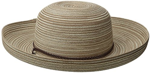 San Diego Hat Company Women's Mixed Braid Kettle Brim Sun Hat, Beige, One Size