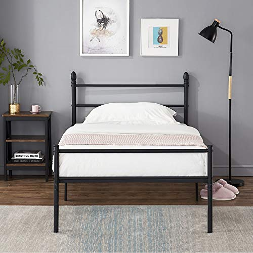 VECELO Single Metal Bed Frame Platform Mattress Foundation/Box Spring Replacement with Headboard & Footboard,Black