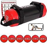 POWRX Power Bag 5-30 kg Kunstleder Fitness Bag für Functional Fitness (15 kg Schwarz/Rot)