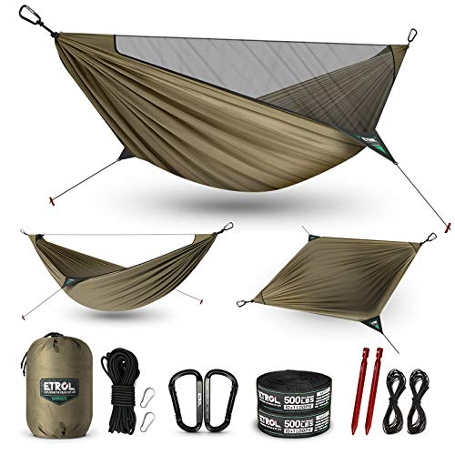 ETROL Upgraded 2 in 1 Camping Hammock with Mosquito Net - Lightweight Portable Hammock for Outside, Travel, Hiking, Backpacking - Bug Net, Tree Straps, Ridgeline, Nails, Elastic Rope