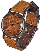 (アークラフト) ARKRAFT 手作り腕時計 Dennis Large 革文字盤 ローマ数字 プエブロキャメル[AR-C-027](受注制作)