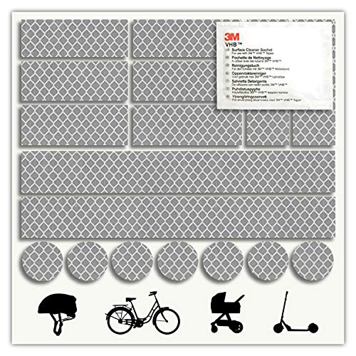 - 3M - Reflektoren-Aufkleber - Reflektor-Set für z. B. Fahrrad, Helm, Skateboard, Auto, Motorrad, Kinderroller - Verbessert Sichtbarkeit & Sicherheit - Hergestellt mit 3M Diamond Grade Tape (Silber)