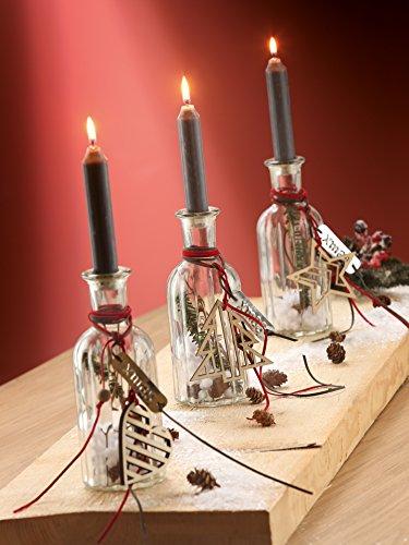 3 x Kerzenflasche Xmas aus Glas Stern, Herz und Baum Höhe 19,5 cm