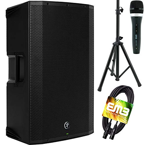"""Mackie Thump15BST THUMP-15BST Boosted 1300W 15"""" Powered Loudspeaker (Single) with EMB Speaker Stand + EMB Microphone and EMB XLR Cable Bundle"""