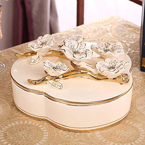 WANBAO Beautiful Tazones de Almacenamiento para el hogar Tazón de Fruta de Malla con Tapa, Sala de Estar Canasta Creativa Canasta Beige Beige Basura Grande (Size : Small)