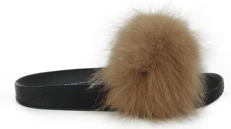 Wild Diva Women's Fashion Slides Fuzzy Stylish Sandals