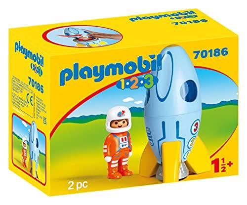 PLAYMOBIL 1.2.3 Astronauta con Cohete, A partir de 18 meses (70186)