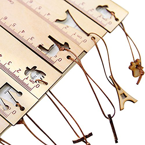 Segnalibro Righello in materiale Legno elegante taglia con ciondolo regalo (zucca)