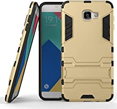 Cover for Samsung Galaxy A9 Pro (2016)(Dual Layer), BasicStock Luxury Hybrid Combo Shock Resistant Anti-Scratch Armor Back Case with Kickstand Heavy Duty Bumper Phone Coverage(Golden)