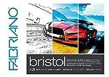 Honsell Fabriano Bristol Block, 250 g/m², 20 feuilles, surface lisse, très effaçable, idéal pour...