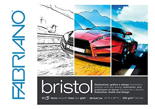 Honsell 19002942 - Fabriano Bristol Block, DIN A3, 250 g/m², 20 Blatt, ultraglatte Oberfläche, sehr radierfest, ideal für Illustrationen, Grafik und Design