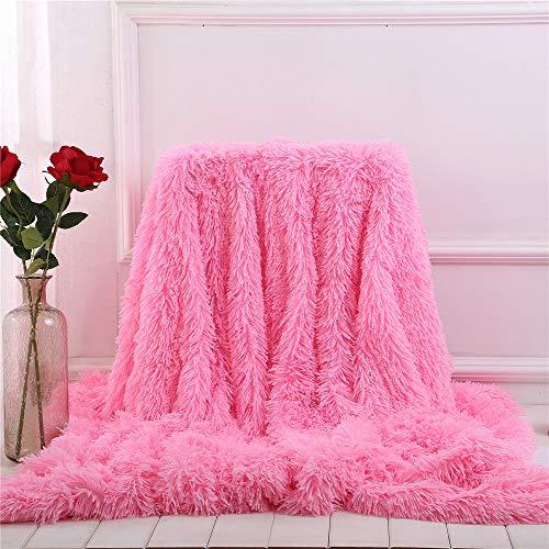 Fansu Kuscheldecke Longhair Flauschige Wohndecke Microfaser Microfaser Korallenvliesdecke Sofadecke Tages Klimaanlage Winter Extra Weich Warm Decke Zotteldecke (Girly Pink,160 * 200cm)