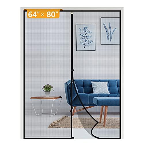 Yotache Magnetic Screen Door Fits Door Size 64 x 80, Strengthened Fiberglass Net Curtain for Patio Sliding Door French Door Fit Doors Size Up to 64'W x 80'H Max