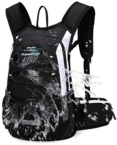 Mubasel Gear Insulated Hydration Backpack Pack with 2L BPA Free Bladder - Keeps Liquid Cool up to 4 Hours – for Running, Hiking, Cycling, Camping (Black White)