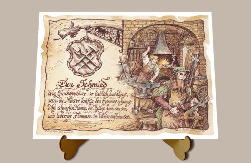 Geschenk Schmied Schlosser Zeichnung Color 30 x 21 cm mit Aufsteller