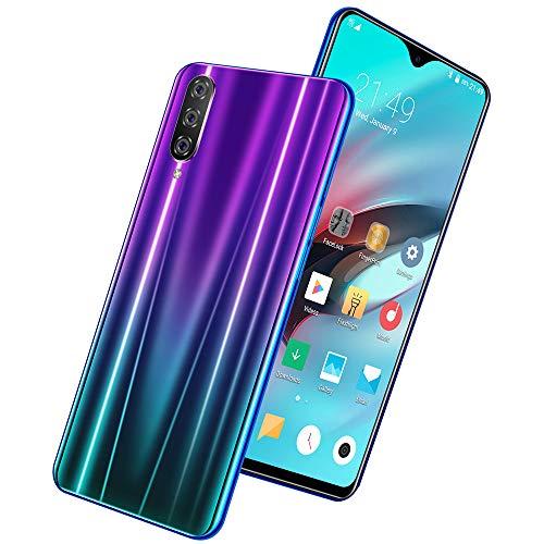 Teléfono móvil de 6.3 pulgadas, teléfono inteligente Android, teléfono móvil todo en uno con pantalla de gota de agua, teléfono móvil con pantalla grande, espejo de cielo azul degradado negro