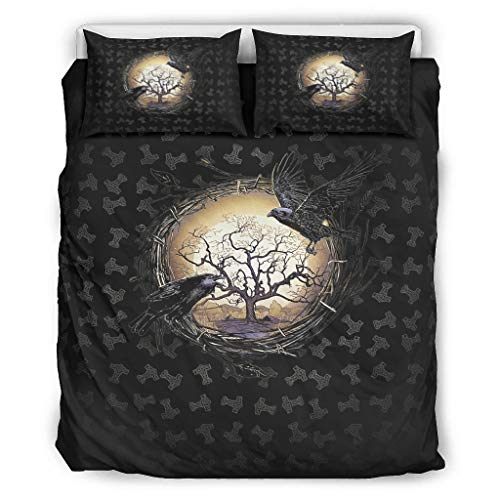 NiTIAN The Twin Ravens In Norse Mythology,Viking,Huginn and Muninn,Odin 1 Stylish Printed Bettbezug Duvet Quilt Und Kissenbezug All Seasons Light Soft Einzelbett Bettwäsche White 229x229cm