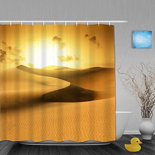 GugeABC Cortina de baño Repelente al Agua,Desierto de Oro en Puesta de Sol. Canarias, Canarias,Cortinas de baño de poliéster de diseño 3D con 12 Ganchos