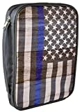 Thin Blue Line Bible Cover - Honors Police and Law Enforcement - Fits Large Size Bibles