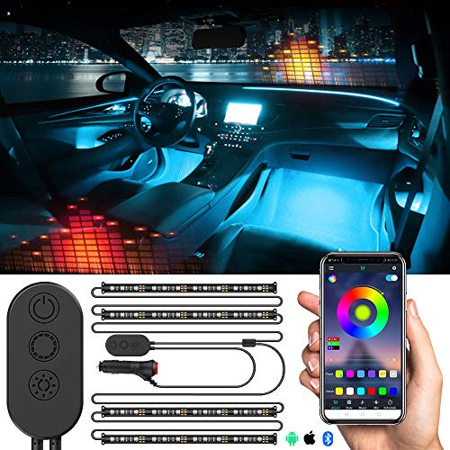 MUSJOS Car Led Interior Lights, Neon El Wire Lights With Usb Adapter For Interior Car Lights Underglow, 8 Pods Neon Ambient Light With Remote/App Control, 2 Lines Design, Dc 12V