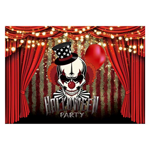 Funnytree Horror Circus Halloween Party Backdrop for Photography Scary Evil Clown Background Vintage Haunted Holiday Baby Kids Birthday Cake Table Decorations Banner Photobooth Studio Props 7x5ft