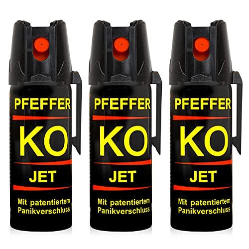 Buyemo Pfefferspray KO Jet 40ml oder 50ml | Abwehrspray Verteidigungsspray | Familiensets 2er/ 3er Sets (50ml, 3er Set)