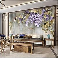 Lcymt 壁画の壁紙 3D壁紙現代の手描きのブドウの木の花と鳥の写真壁壁画リビングルームの寝室のソファの背景の壁の装飾-250X175Cm
