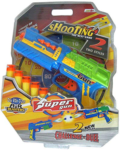New Pinch Dart Gun Foam Air Blaster Toy, Safe and Long Range with 5 Bullets Dart for Boys and Girl