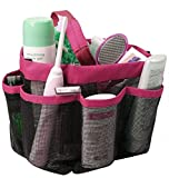 Quick Drying 8 Pockets Hanging Toiletry Organizer Makeup Cosmetic Bath Shower Storage Bag Mesh Tote Oxford Travel Gym Dorm Bathroom Shower Caddy Accessory Case Holder Washing Bag with Handles