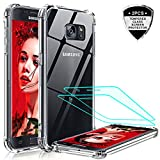 LeYi Galaxy S7 Case, Samsung Galaxy S7 Case with 2 Pack Tempered Glass Screen Protector, Shockproof Crystal Clear Hard PC Full-Body Bumper Transparent Slim Protective Phone Cover Cases for Samsung S7
