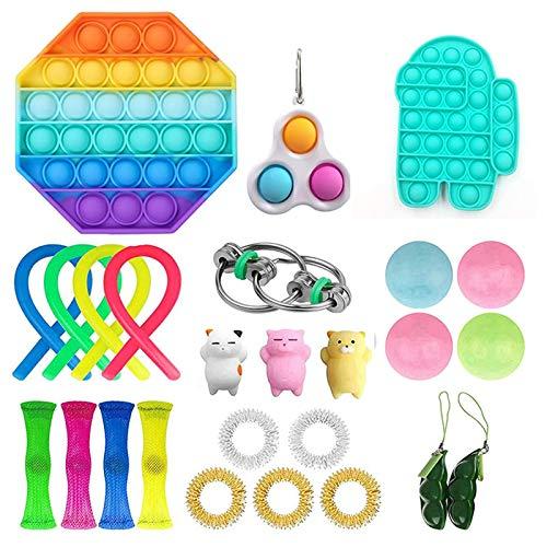 VELIHOME 26 peças Fidget Pack Rainbow Toy Fidget tem simples alívio do estresse e ansiedade, bem-estar para festas de estudantes e funcionários de escritório