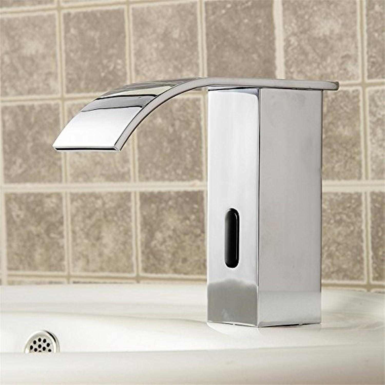 Bijjaladeva Wasserhahn Bad Wasserfall Mischbatterie Waschbecken WaschtischBasin-Brass Chrom Doppelwaschbecken Intelligent Sensing und Kaltes Wasser Waschbecken Mixer