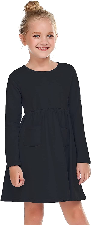 Boyoo Girls Long Sleeve Dress O-Neck Casual Solid Pocket Dress for Girls 2-13 Years