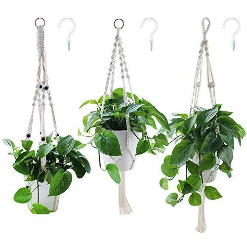 yotako Seil zum Aufhängen Pflanzgefäß, 3Muster innen Makramee Pflanzenhänger, große & kleine hängen Pflanzgefäße, Blumentopfhalter für Decke, Outdoor Garten Balkon Blumenampel Halterung