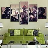 194Tdfc Star Wars Stormtrooper Jedi 5 Piezas Cuadros Lienzo Decoracion Salon Modernos De Pared Papel Pintado Murales Pintura Póster Fotos Regalo Anime Animal Paisaje 150 * 80Cm