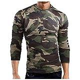 XIAOHUAHUA Camiseta de compresión básica de manga larga y cuello redondo para hombre, de camuflaje, holgada, cómoda, para otoño e invierno, verde, XXL