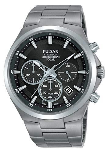 Pulsar Solar Herren-Uhr Chronograph Titan mit Metallband PZ5097X1