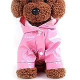 Chubasquero para perro con capucha ligero para mascotas chaqueta impermeable PU reflectante con tiras reflectantes seguras para mascotas pequeñas y medianas (L,Rosa)