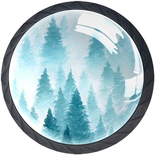 Watercolor Painting of Winter Forest Landscape 4 Stück Schubladenknöpfe Kommode Möbelknöpfe glas Moebelknauf Griff Garderobe Ziehgriffe Möbelgriff