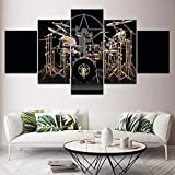 QZWXEC 5 Panel Canvas Wall Art Drum Set Music 5 Canvas Wallpaper Modern Poster Modular Art Painting Living Room Home Decoration