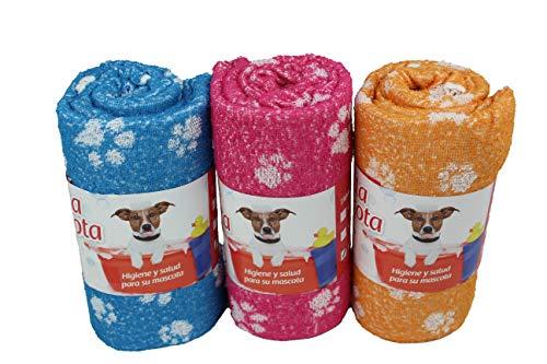 Pack de 3 Toallas para Perro, Toalla de Rizo Absorbente, Suave y Resistente para Mascotas. (100x120)