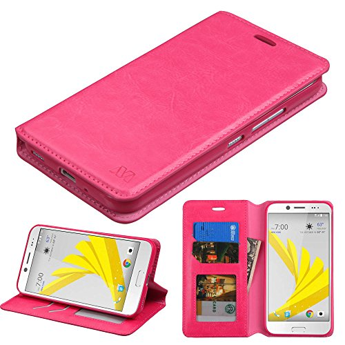 HTC Bolt/HTC 10 Evo Case, Kaleidio [MyJacket] PU Leather Hybrid Wallet Flip Book Style Cover w/Card Slot & Foldable Stand Feature [Includes a Overbrawn Prying Tool] [Pink]