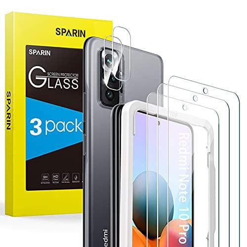 SPARIN [3+2 Pezzi] Vetro Temperato Compatibile con Xiaomi Redmi Note 10 Pro (6.67  ), Pellicola Protettiva per Fotocamera, Facile da Installare con Strumento, Durezza 9H, Ultra Trasparente