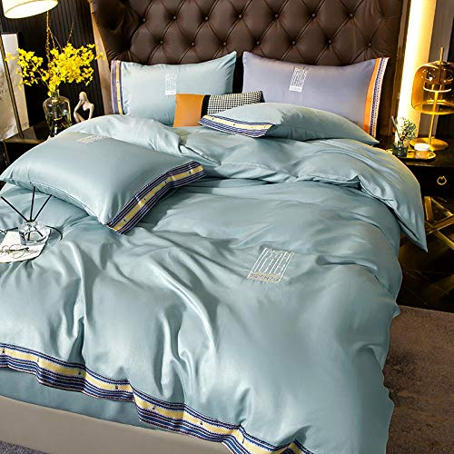 funda nordica cama 150 gris,XIA Siki Down traje cuatro set, seda nórdica seda de seda cama doble cama individual almohada de cama, amigos colegas hombres, dia de la madre regalo-mi_Cama de 2.0m (4 pi