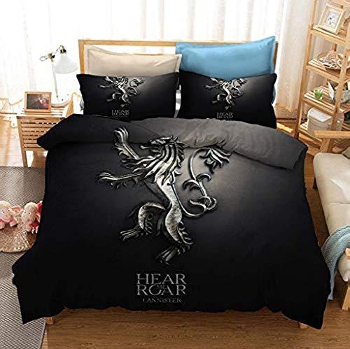 QWAS Juego de Tronos Juego de Tronos, funda nórdica y funda de almohada de alta calidad (A4, 135 x 200 cm + 50 x 75 cm x 2)