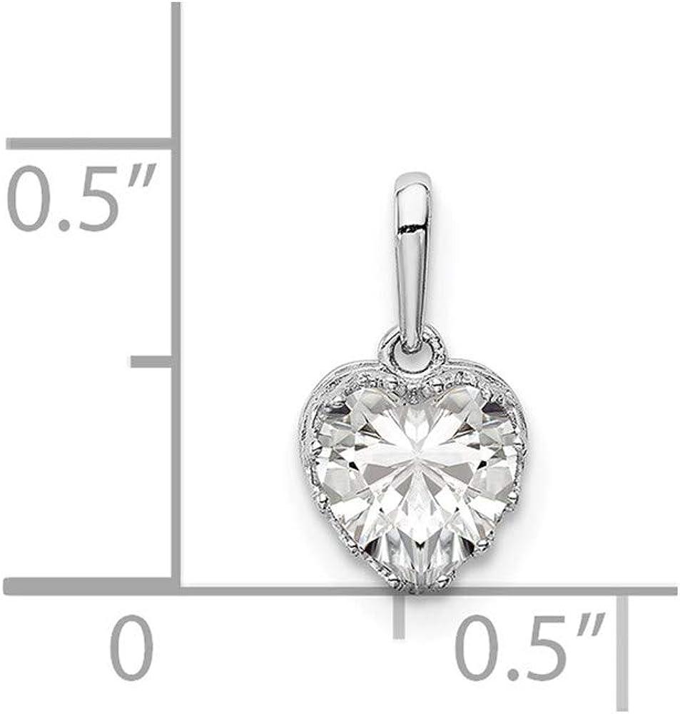 10k Tiara Collection White Gold Polished Heart CZ Pendant style 10YC413W